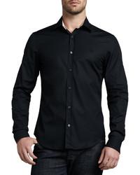 Burberry Cambridge Check Trim Woven Shirt Black
