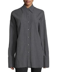 Helmut Lang Check Point Collar Button Front Oversized Shirt