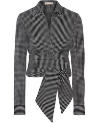 Michael Kors Michl Kors Collection Cropped Checked Cotton Blend Poplin Wrap Shirt Black