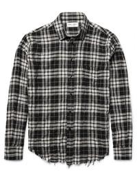 Saint Laurent Slim Fit Checked Cotton Blend Shirt