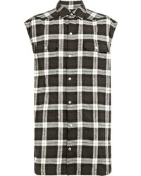 Rick Owens Check Sleeveless Shirt