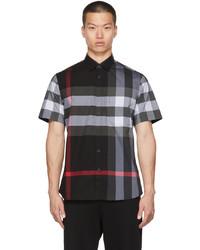 Burberry Grey Poplin Check Stretch Short Sleeve Shirt