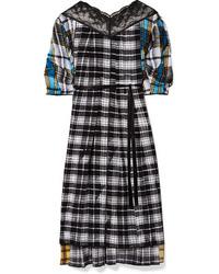 Marc Jacobs Ed Plaid Silk Voile Midi Dress