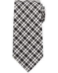 Textured plaid silk tie black medium 610521