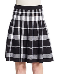 Saks fifth avenue black plaid jacquard flare skirt medium 425337