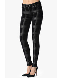 7 for all mankind the skinny in silver black plaid medium 38849