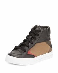 Burberry Haypark Mini Check High Top Sneaker Blacktan Toddler