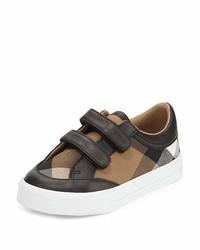 Burberry Heacham Mini Check Leather Trim Sneaker Blacktan Toddler