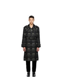 Saint Laurent Black And Beige Alpaca Trench Coat