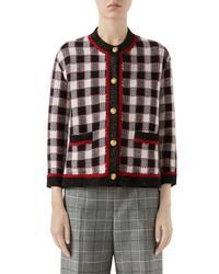 Gucci Check Knit Wool Jacket