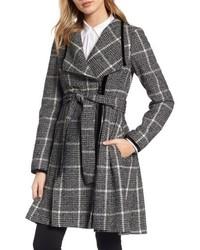 Velvet trim plaid tweed coat medium 4913879