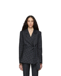Tibi Black Plaid Marvel Wrap Blazer