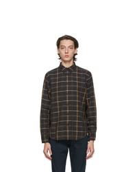 Black Plaid Wool Long Sleeve Shirt