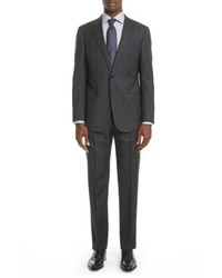 Armani Collezioni G Line Trim Fit Plaid Wool Suit