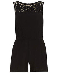 Dorothy Perkins Black Crinkle Playsuit