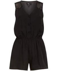 Dorothy Perkins Cutie Black Elastic Waist Playsuit