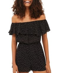 Topshop Dotty Off The Shoulder Romper