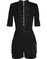 Balmain Lace Up Stretch Knit Playsuit Black