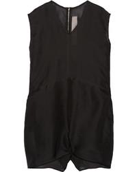 Rick Owens Oversized Silk Organza Playsuit Black