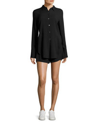 Theory Ranay Rosina Crepe Long Sleeve Romper Black