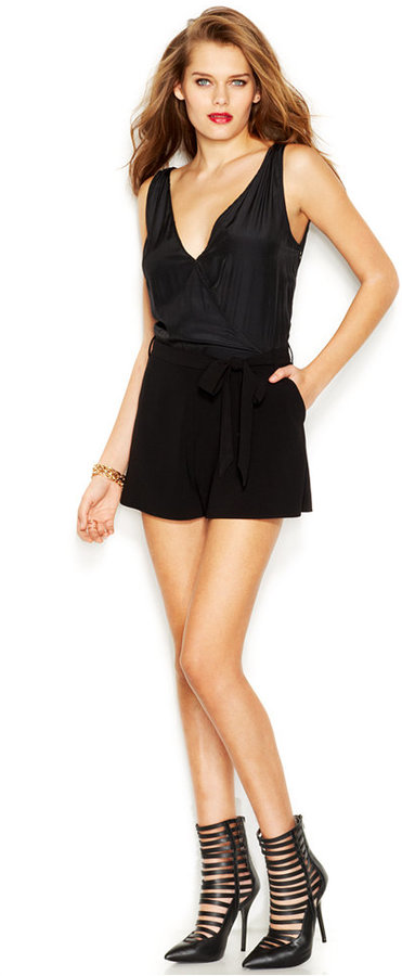 75c79bef91c0 ... Black Playsuits GUESS Sleeveless V Neck Romper ...
