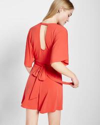 Express Tie Back Kimono Sleeve V Neck Romper