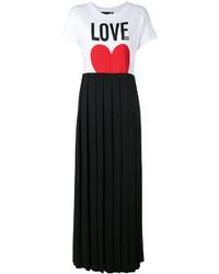 Love Moschino Pleated Skirt T Shirt Dress