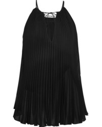 Elizabeth and James Nina Pleated Chiffon Top Black