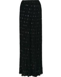 Black Pleated Chiffon Maxi Skirt
