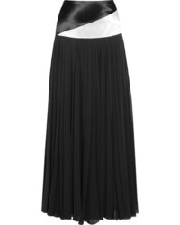 Lanvin Two Tone Mousseline And Pleated Chiffon Maxi Skirt Black