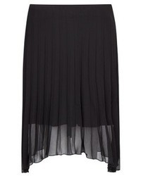 Black Pleated Chiffon Midi Skirt