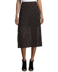Alexander ueen pleated polka dot midi skirt redblack medium 961999