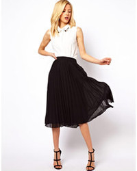 Black Pleated Chiffon Midi Skirts for Women | Women's Fashion