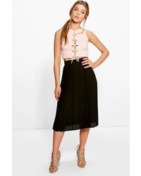 Boohoo Aura Chiffon Pleated Midi Skirt