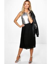 Boohoo Aura Pleated Chiffon Midi Skirt