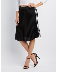 Charlotte Russe Varsity Stripe Pleated Midi Skirt