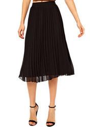 Layered pleated chiffon black skirt medium 43031
