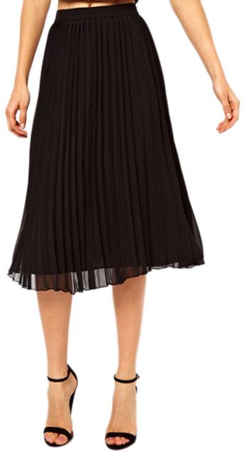 15471e067f Romwe Layered Pleated Chiffon Black Skirt, $39 | Romwe | Lookastic.com