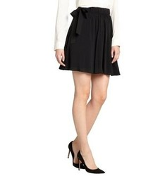 RED Valentino Black Stretch Chiffon Ribbon Accent Mini Skirt