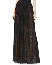 Black Pleated Lace Maxi Skirt