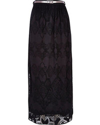 Black lace belted maxi skirt medium 95203