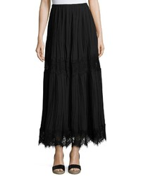 Lace inset pleated georgette maxi skirt black medium 1155083