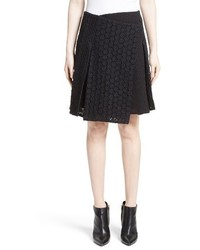 Burberry Howe Mixed Lace Pleated Wrap Skirt