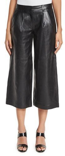 ... MICHAEL Michael Kors Michl Michl Kors Pleated Leather Culottes Black ...