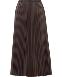 Black Pleated Leather Maxi Skirt