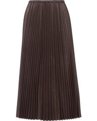 Black Pleated Leather Maxi Skirt