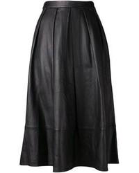 Black Pleated Leather Midi Skirt