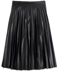 Faux leather pleated midi skirt medium 321847