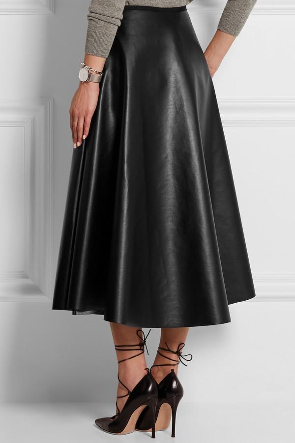 1dbdaa9e522 ... Lanvin Fluted Faux Leather Midi Skirt