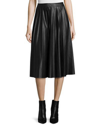 Neiman Marcus Leather Pleated Midi Skirt